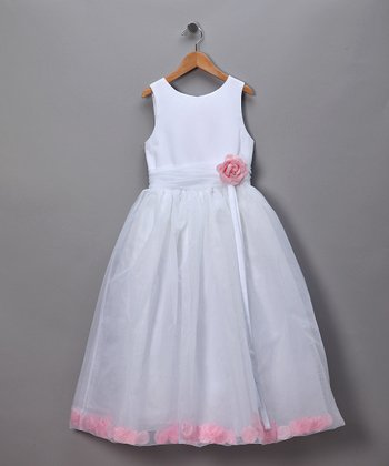 White Rose Petal Filled Pageant Dress