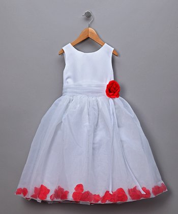 Red Rose Petal Filled Pageant Dress