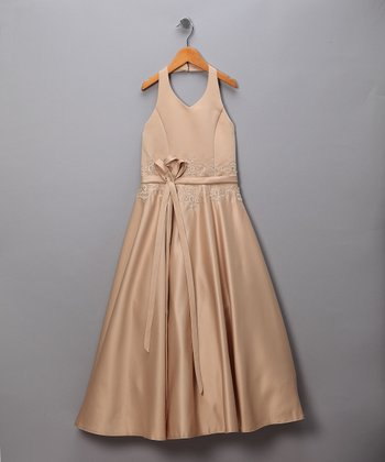 Coffee Satin Halter Pageant Dress