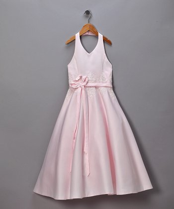 Pink Satin Halter Pageant Dress