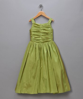 Iridescent Lime Gathered Bodice Pageant Dress