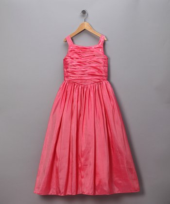 Salmon Pink Gathered Bodice Dress - Toddler & Girls