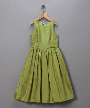 Iridescent Lime Pageant Dress