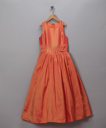Iridescent Orange Pageant Dress