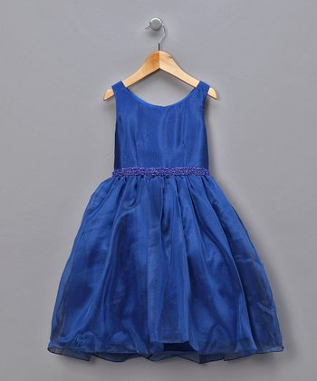 Royal Blue Chiffon Beaded Waist Pageant Dress