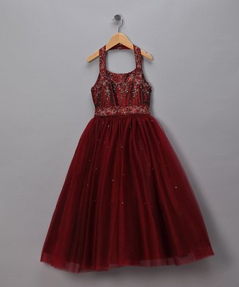 Burgundy Sequined Halter Pageant Dress