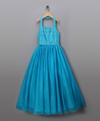 Turquoise Sequined Halter Pageant Dress