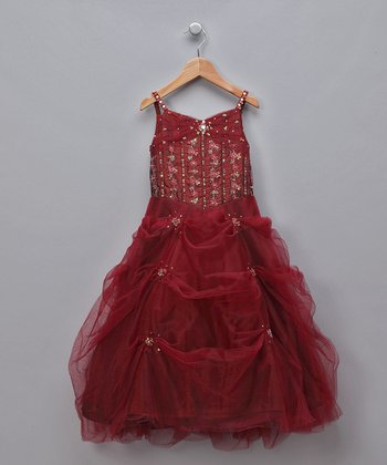 Burgundy Sequined Gathered Tulle Pageant Dress