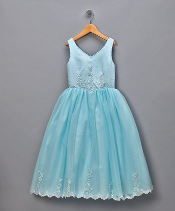 Blue V-Neck Floral Tulle Pageant Dress