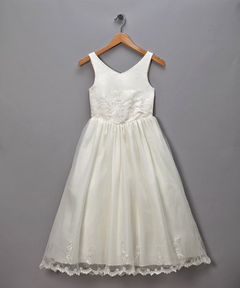Ivory V-Neck Floral Tulle Pageant Dress