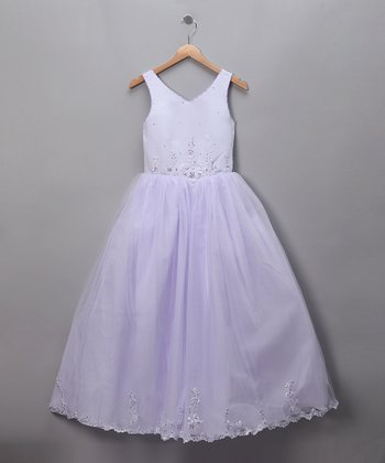 Lilac V-Neck Floral Tulle Pageant Dress