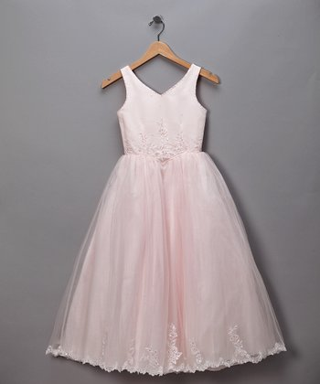 Pink V-Neck Floral Tulle Pageant Dress