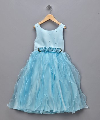 Blue Roses & Waves Pageant Dress
