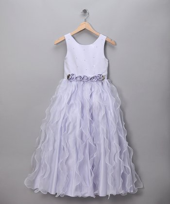 Lilac Roses & Waves Pageant Dress