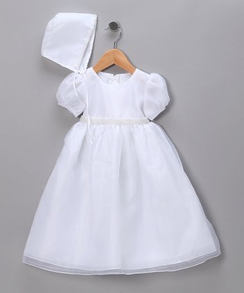 White Puff Sleeve Pageant Dress