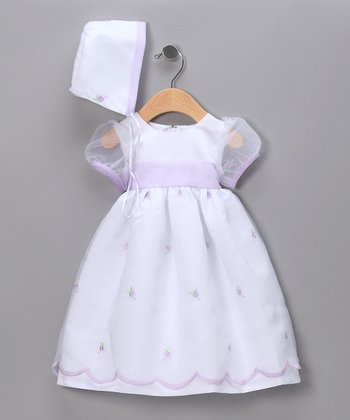 White Puff Sleeve Floral Pageant Dress