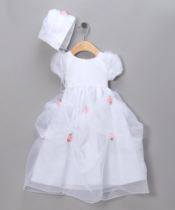 White Rosette Pageant Dress