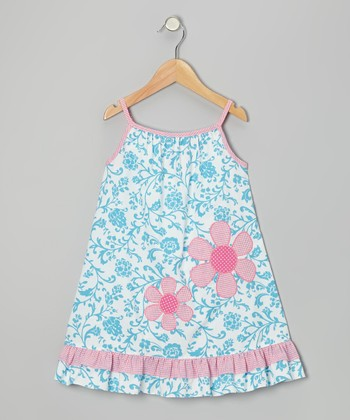 Blue & Pink Floral Dress - Infant, Toddler & Girls