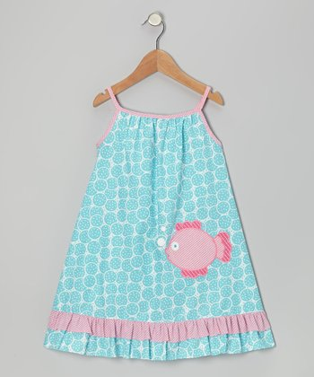 Turquoise Fish Swing Dress - Infant, Toddler & Girls