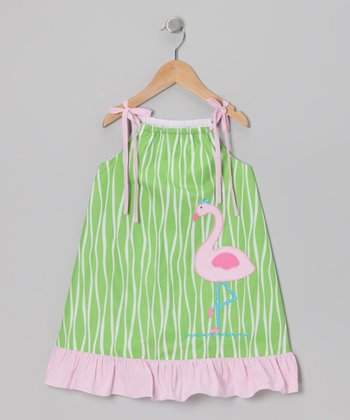 Green & Pink Flamingo Swing Dress - Toddler & Girls