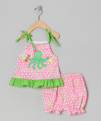 Pink & Green Octopus Swing Top & Bloomers - Infant