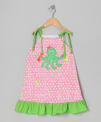 Pink & Green Octopus Swing Dress - Toddler & Girls
