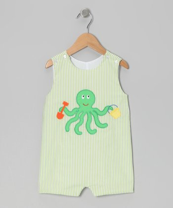 Lime Stripe Octopus Shortalls - Infant & Toddler
