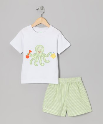 White Octopus Tee & Lime Stripe Shorts - Toddler & Boys