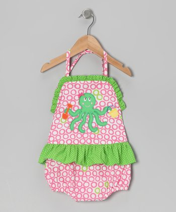 Pink Octopus Halter One-Piece - Infant, Toddler & Girls
