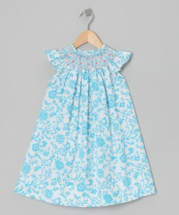 Turquoise Floral Angel-Sleeve Dress - Infant, Toddler & Girls