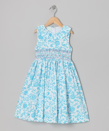 Turquoise Floral Ruffle Smocked Dress - Toddler & Girls