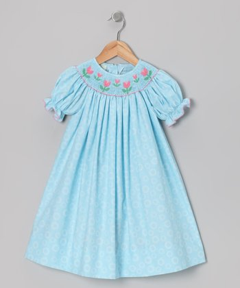 Light Blue Tulip Bishop Dress - Girls
