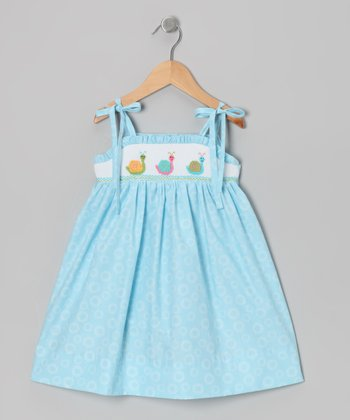 Light Blue Snail Smocked Dress - Toddler & Girls