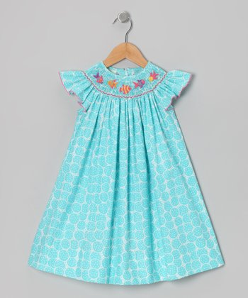 Turquoise Fish Angel-Sleeve Dress - Infant, Toddler & Girls
