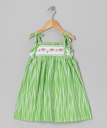 Green Watermelon Smocked Dress - Toddler & Girls