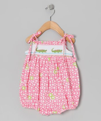 Pink Alligator Smocked Bubble Bodysuit - Infant