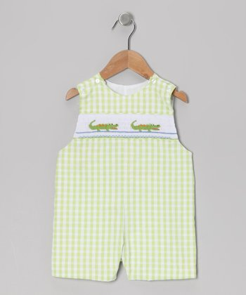 Lime Gingham Alligator John Johns - Toddler