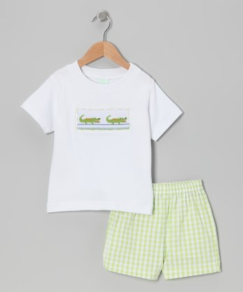 White Alligator Smocked Tee & Lime Gingham Shorts - Toddler