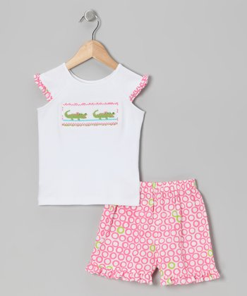 White Alligator Smocked Tee & Pink Shorts - Girls