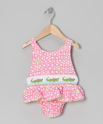 Pink Alligator Smocked Sunsuit - Toddler & Girls