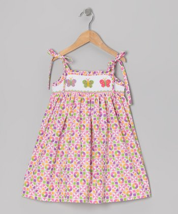 Pink Butterfly Smocked Dress - Toddler & Girls