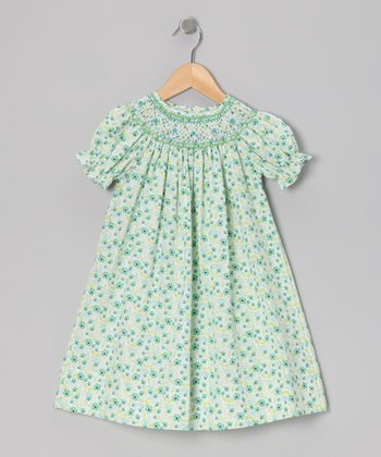 Green Floral Bishop Dress - Infant, Toddler & Girls