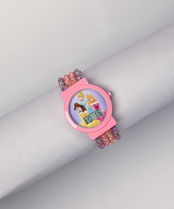 Pink Princess Beaded Digital Watch