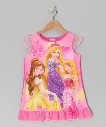 Hot Pink Princesses Ruffle Nightgown - Toddler