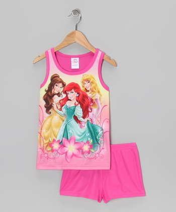 Pink Princesses Tank Pajama Set - Girls