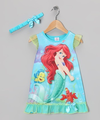 Aqua Ariel Ruffle Nightgown & Headband - Toddler