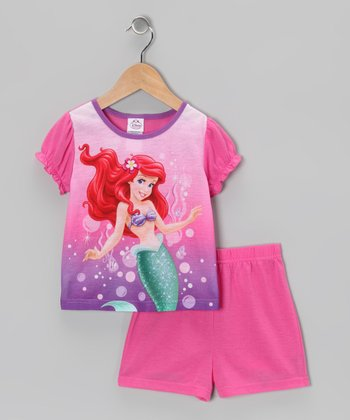 Pink & Purple Ariel Cap-Sleeve Pajama Set - Infant & Toddler