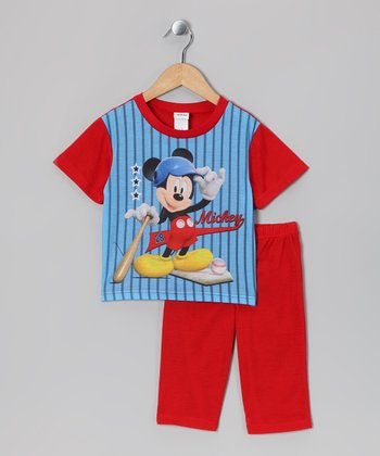 Blue & Red Mickey Home Run Pajama Set - Infant