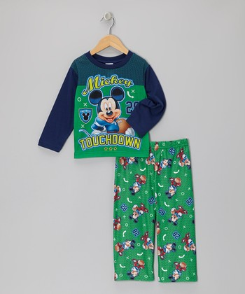 Aqua Mickey 'Touchdown' Pajama Set - Infant