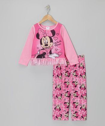 Pink Minnie Tutu Hem Pajama Set - Toddler
